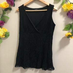 MAJORA Black Lace Cross Over Front Tank Top